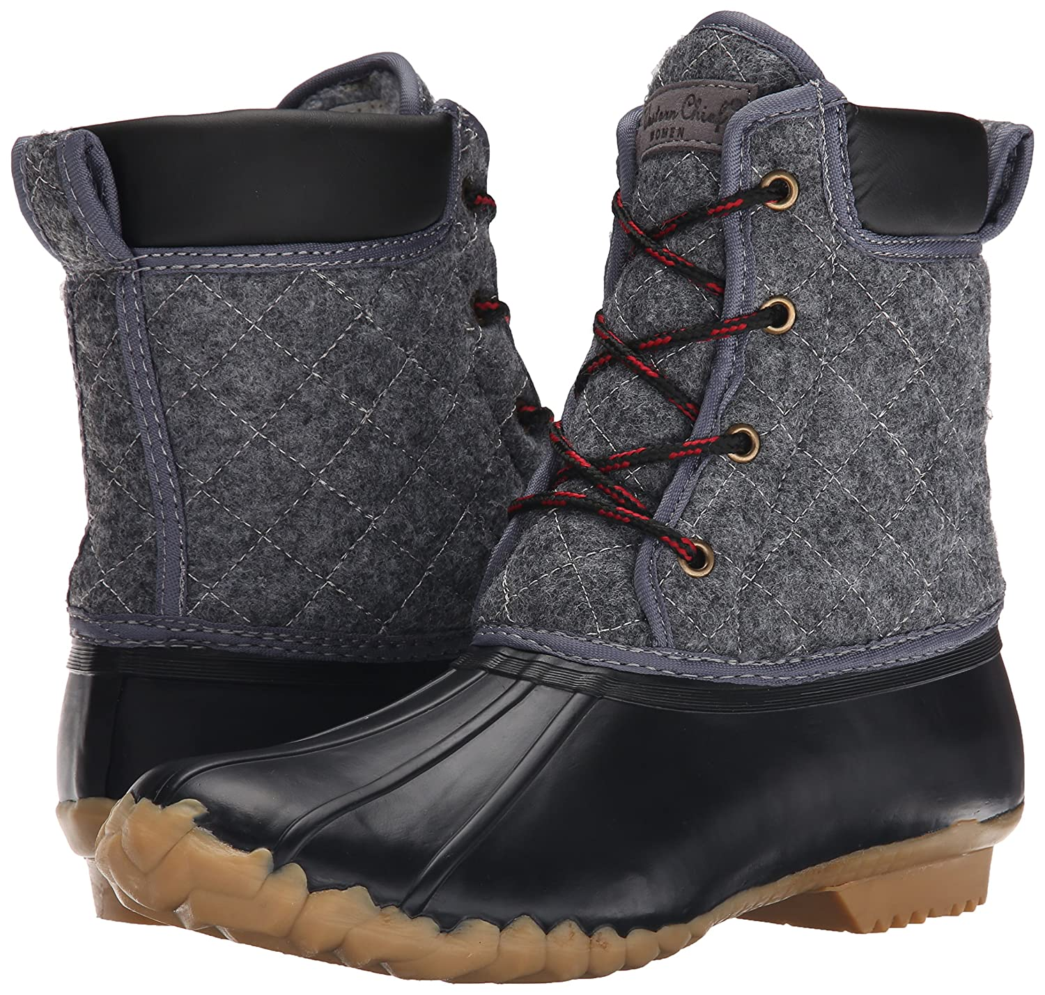 Western Chief Duck Women Waterproof Four-Eye Lace-up Duck Chief up B00VSS13MM 6 B(M) US|Charcoal Quilted 956290