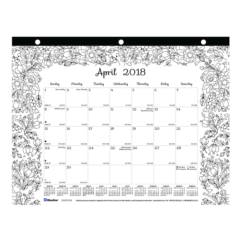 C2917211-19 11 x 8.5 inches Blueline 2019 DoodlePlan Monthly Coloring Desk Pad Calendar January to December Botanica designs
