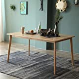 Livinia Canberra Dining Table, Mid Century Solid Hardwood Kitchen Desk, Rectangle Leisure Table for 6-Person, Morden Wooden D