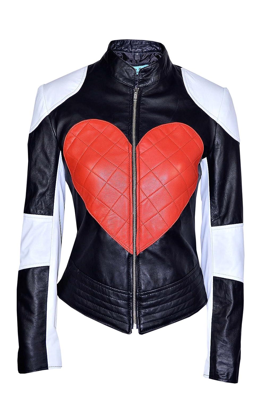 Smart Range Women's Kylie Heart Timebomb Biker Motorcycle Leather Jacket