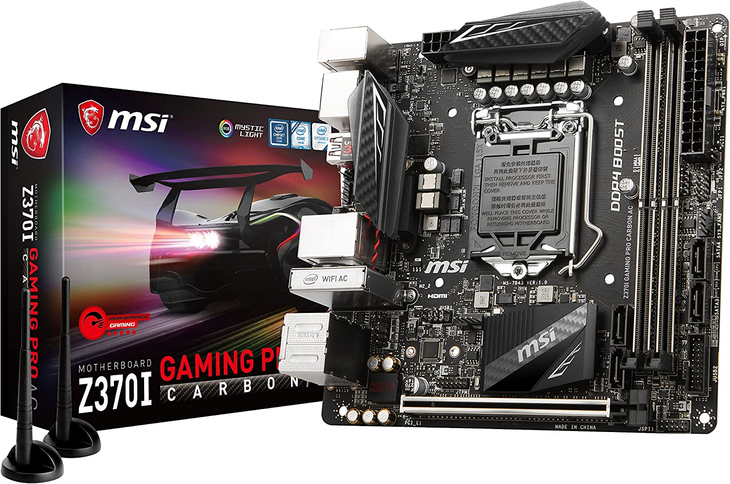 MSI Performance GAMING Intel 8th Gen LGA 1151 M.2 HDMI DP USB 3.1 Gigabit LAN WiFi Mini-ITX Motherboard (Z370I GAMING PRO CARBON AC)