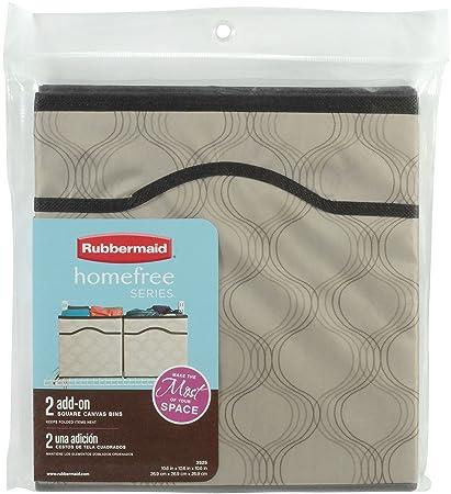 Rubbermaid HomeFree Closet System Canvas Basket, Medium, Beige, 2 Pack