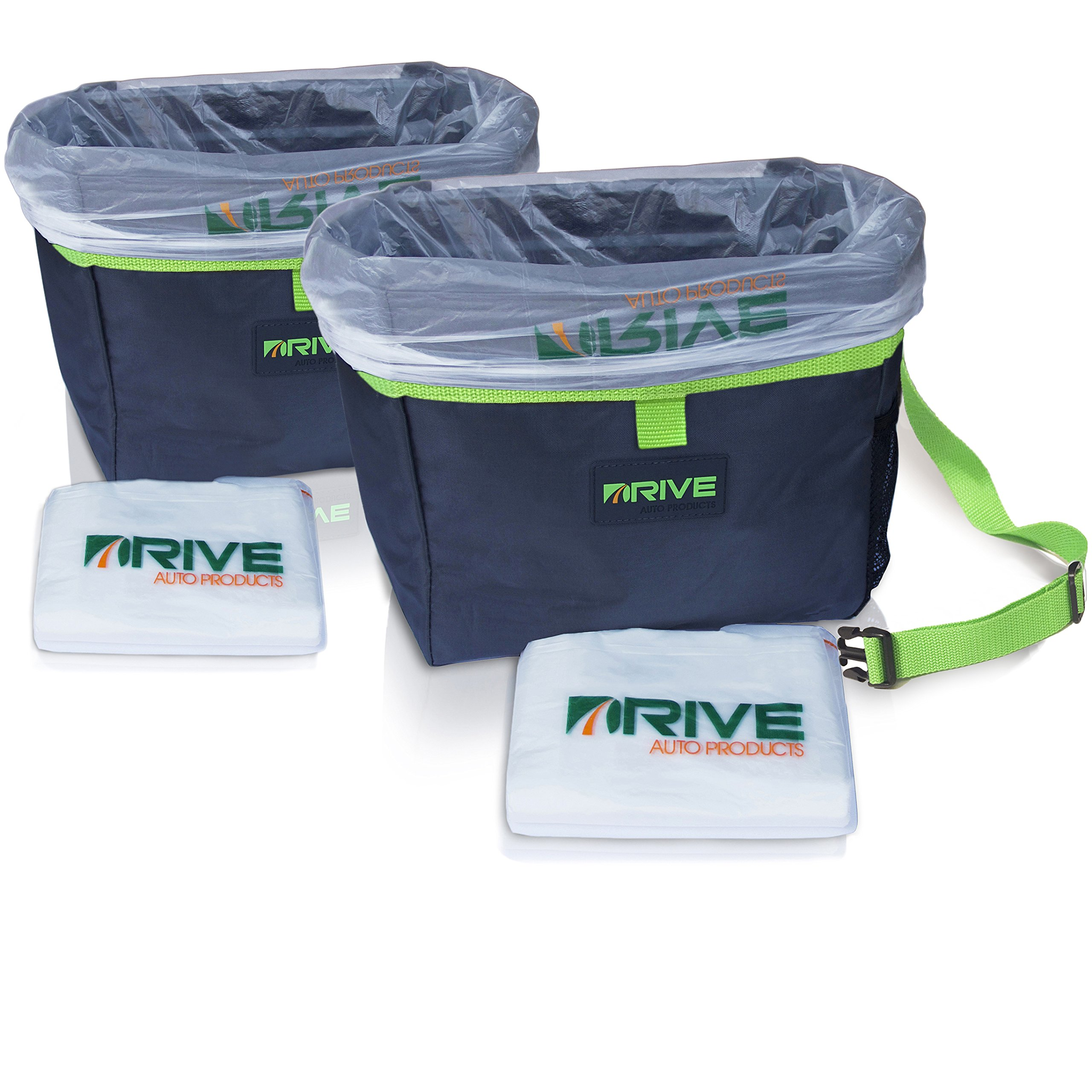 Drive Auto Products Car Trash Can, Green (2-Pack) by Best Garbage Bag for Litter, FREE Waste Basket Liners - Hanging Recycle Kit is Universal & Waterproof, Versatile Drink Cooler or Road Trip Bundle