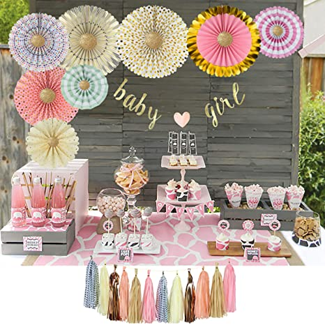 Yara Baby Shower Decorations For Girls Kit Pink And Gold Party Supplies Paper Fans Baby Girl Garland Bunting Banner Hanging Tassels Its A