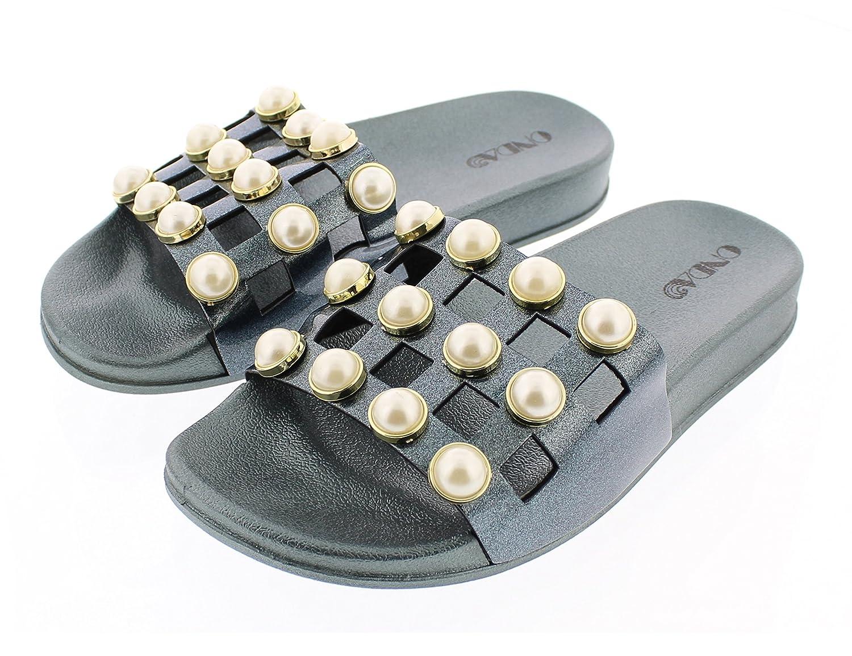 ONDA Womens Staci Pearl Embellished Pool Slide Platform Flat Sandal with Contoured Comfort Footbed