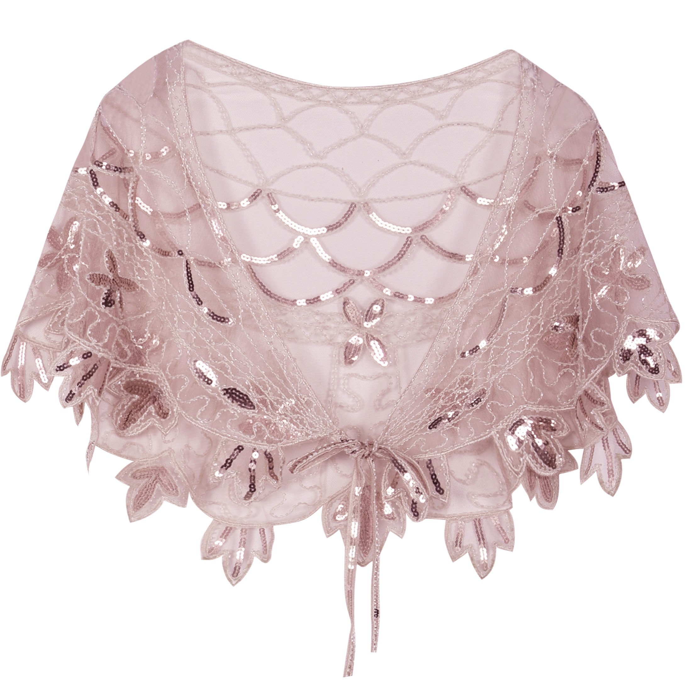 PrettyGuide Women's 1920s Shawl Beaded Vintage Bolero Flapper Evening Wraps Pink