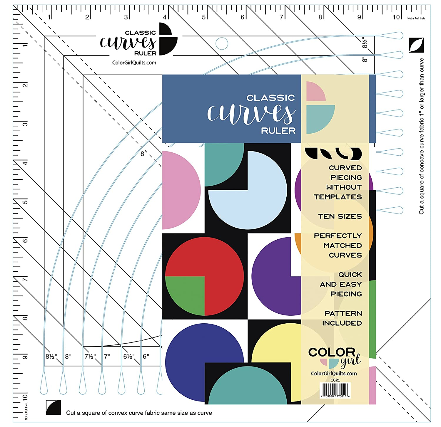 Color Girl Quilts Classic Curves Ruler, 11