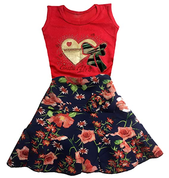 c1c486348454 Pacific Star Girls Top & Bottom Set with Fancy Floral Beautiful Skirt (8-9