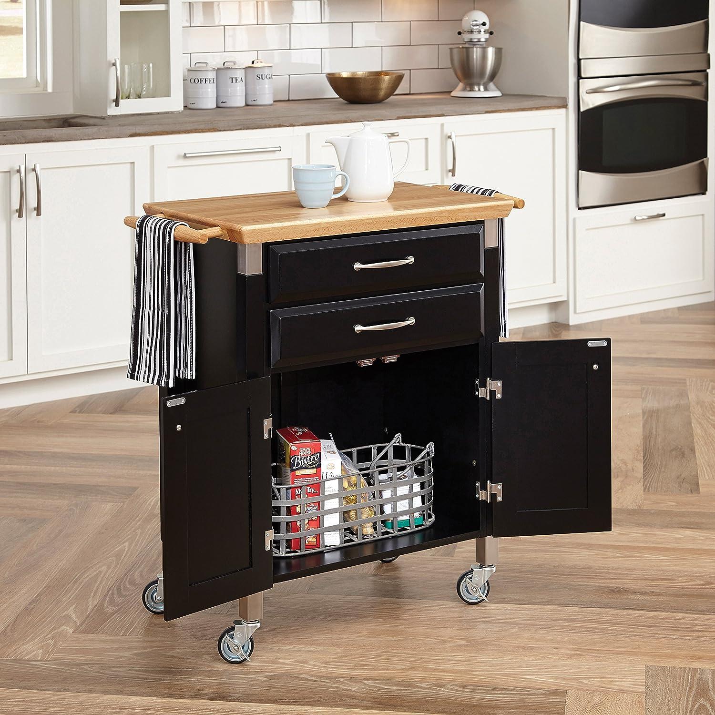 amazoncom home styles dolly madison prep and serve cart black finish kitchen islands u0026 carts
