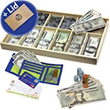 Educational Play Money Set for Kids - Bills, Coins, Wallet, Credit Card, Checks. Over 560 Pieces