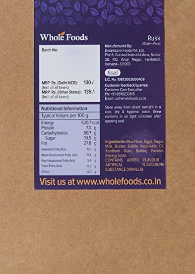 whole foods gluten free rusk non veg 200g amazon in grocery gourmet foods
