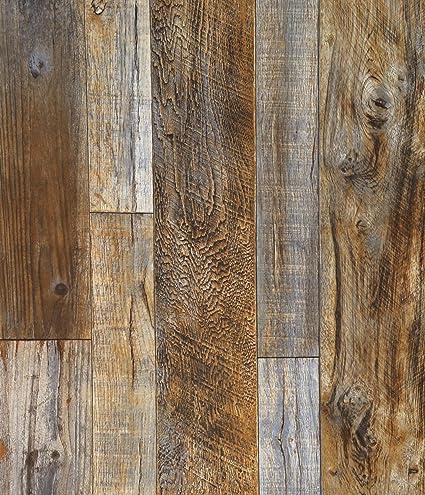 Blooming Wall Vintage Faux Wood Wallpaper Rolls Brown