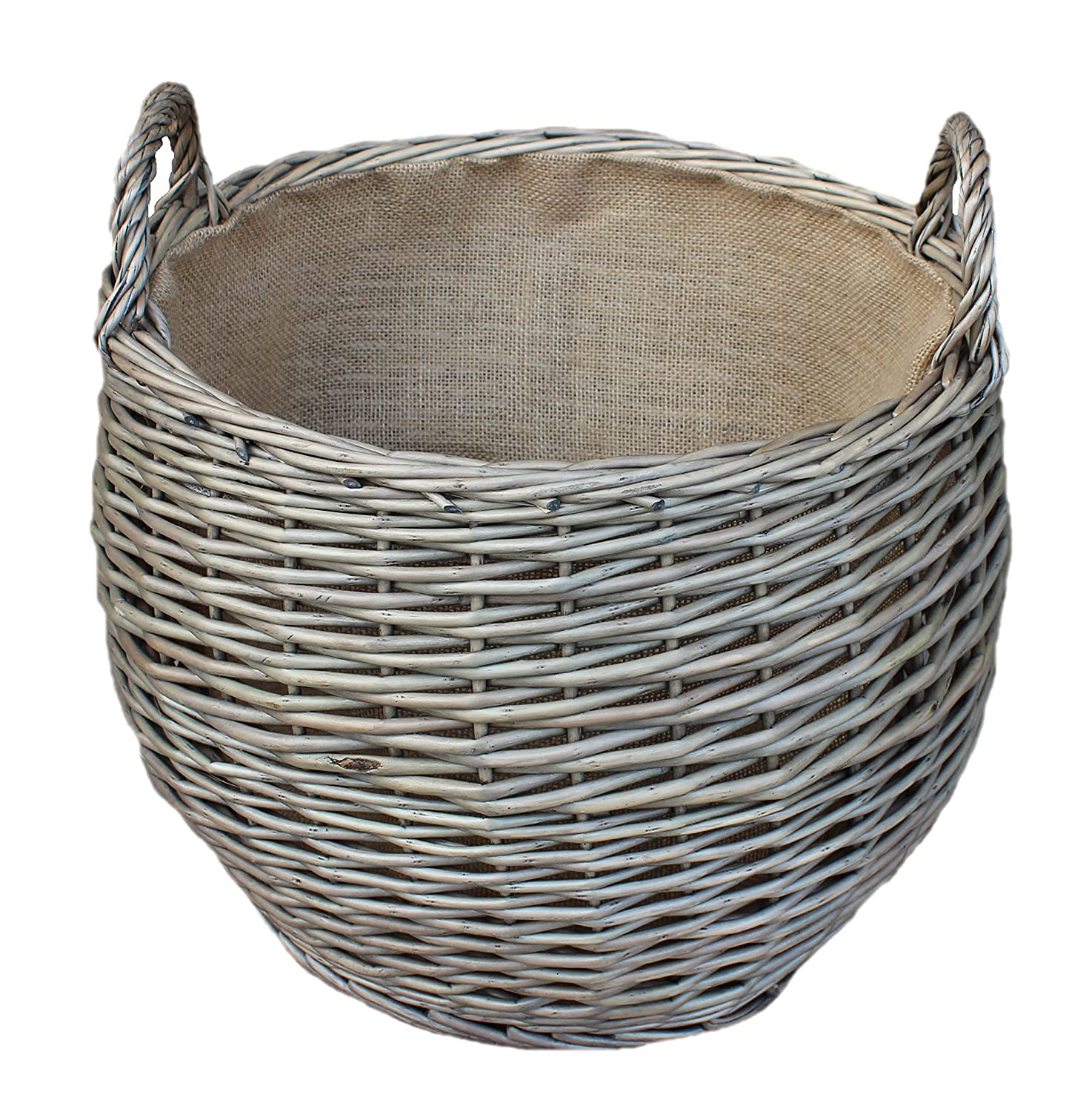 Wicker Stumpy Log Basket Holder Hessian Lined Carry Handles Antique Wash Willow Direct