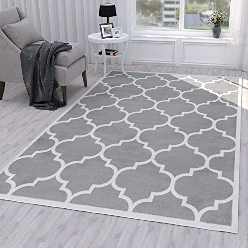 Ottomanson Paterson Collection Jute Back Moroccan Trellis Design Area Rug