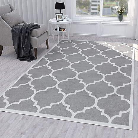 Amazon Com Ottomanson Grey Runner Moroccan Trellis Design Area Rug 5 3 X 7 0 Home Kitchen