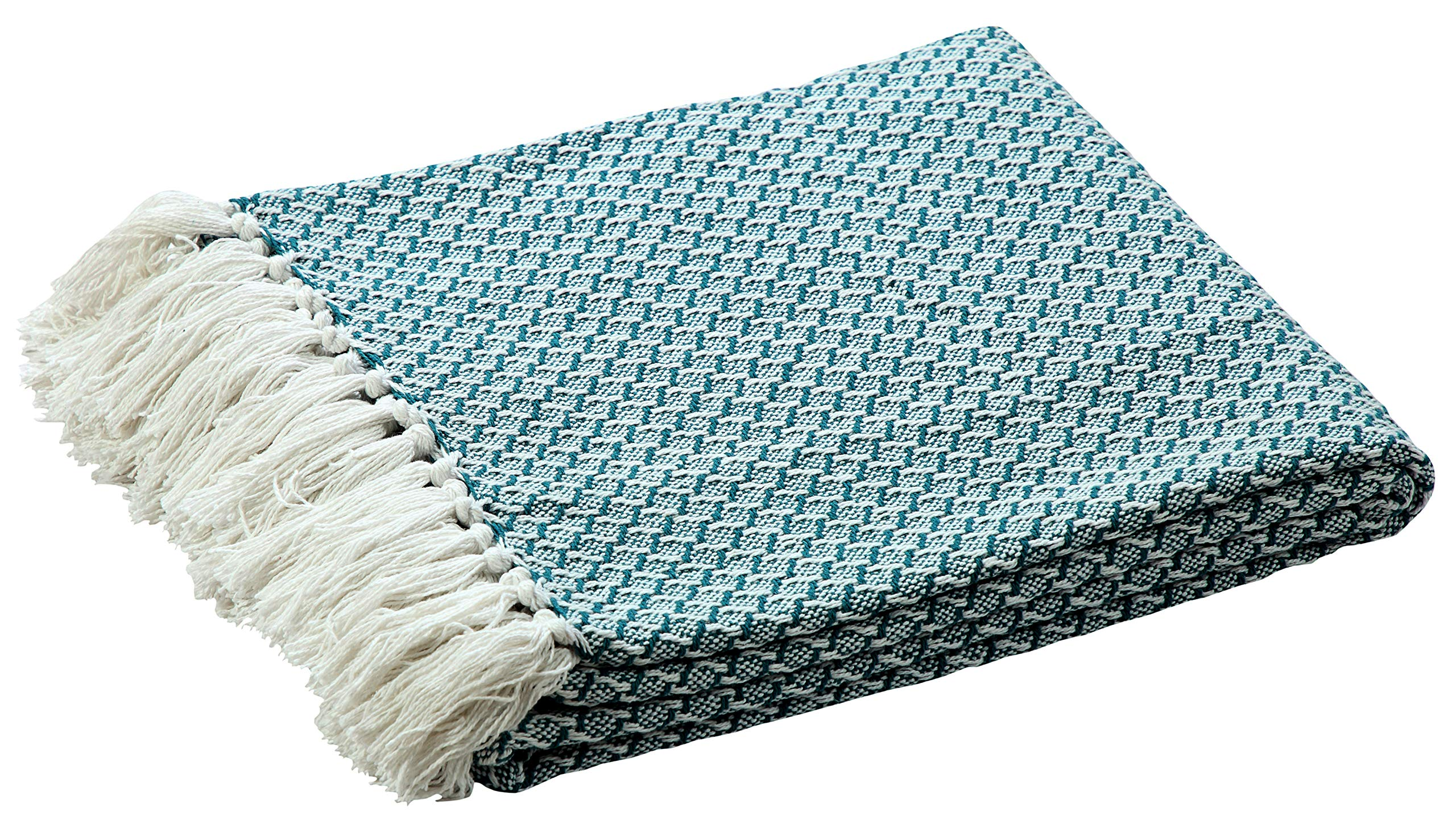 Farmhouse Throws Blanket with Fringe for Chair,Couch,Picnic,Camping, Beach,Throws for Couch,Everyday Use, 100% Ring Spun Cotton Throw Blanket with Super Soft and Excellent Handfeel 50 x 60 -Sea Green