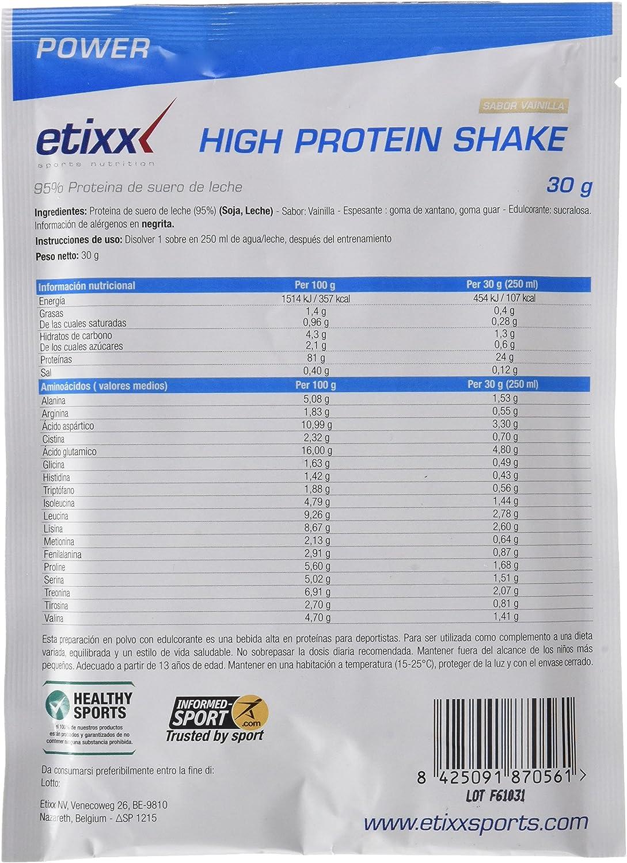 Etixx High Protein Shake, sabor a Vainilla - 12 Sobres ...