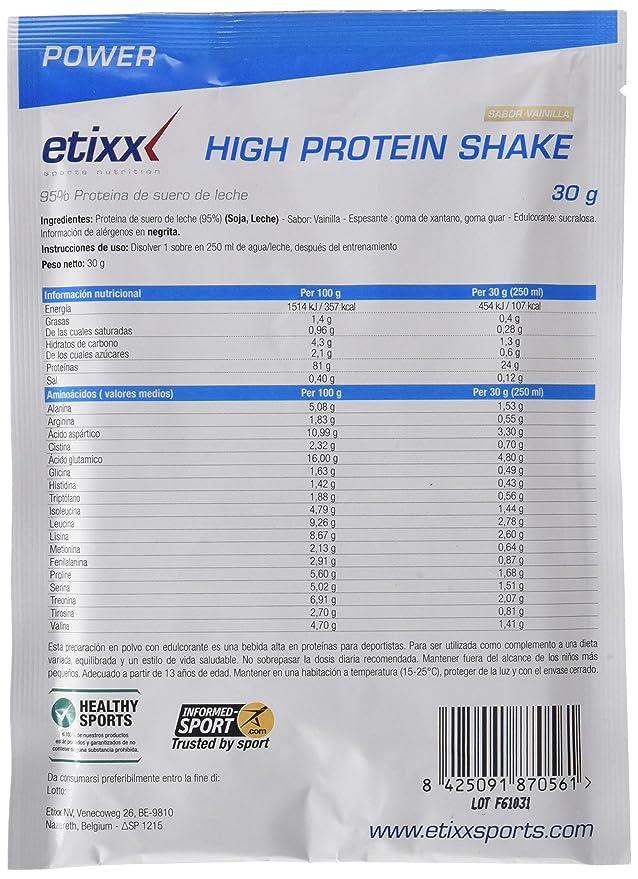 Etixx High Protein Shake, sabor a Vainilla - 12 Sobres: Amazon.es ...