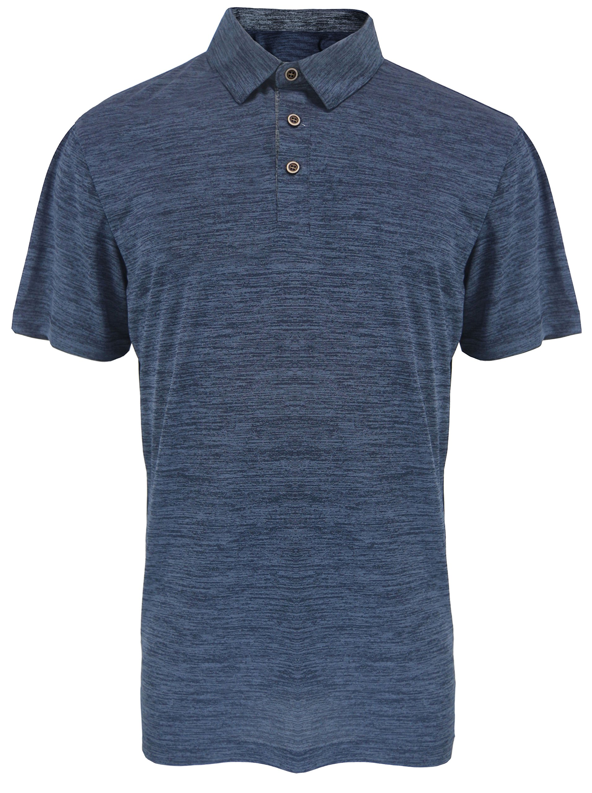 Leehanton Men's Active Moisture-Wicking Sport Tech Marble Performance Polo Shirt (2X-Large, Navy)