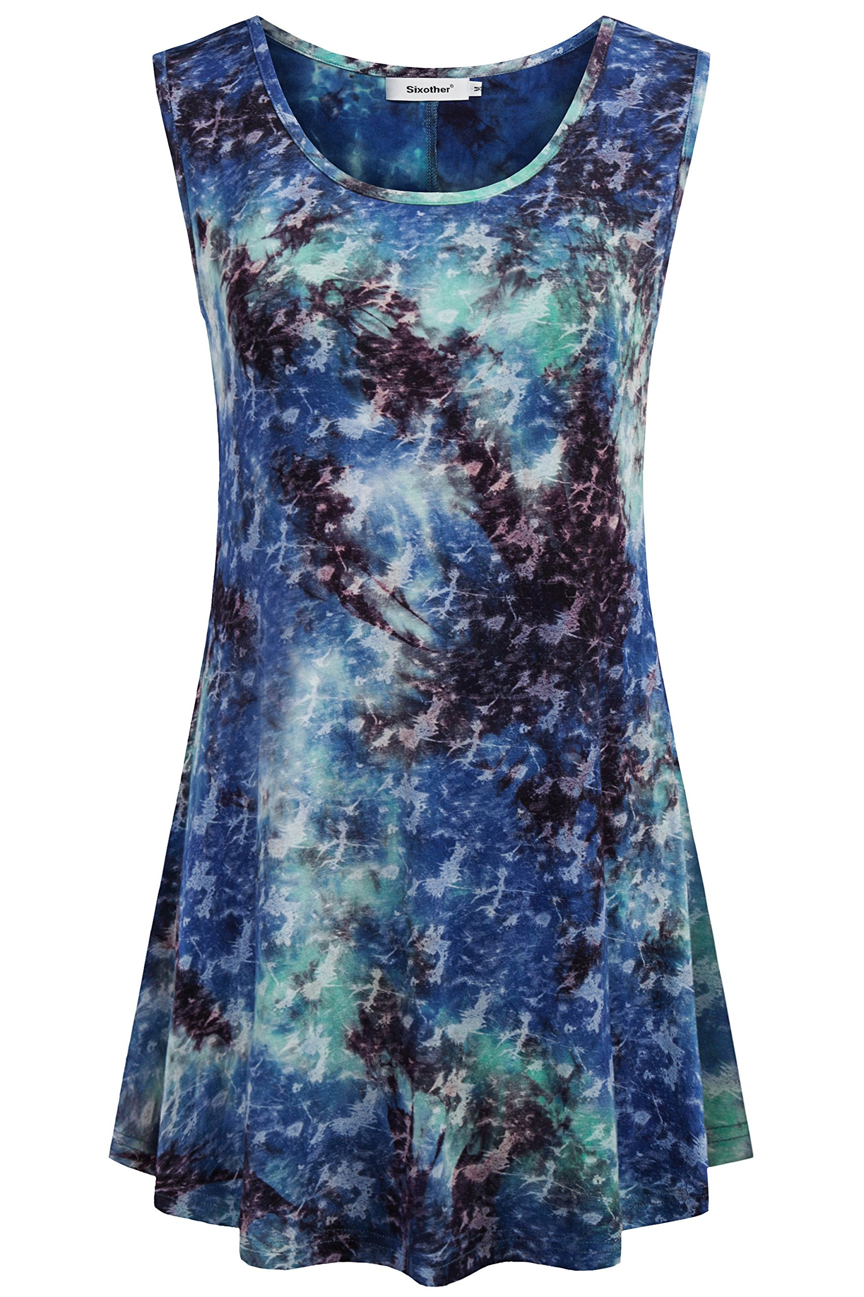 Sixother Cami Tank, Sleeveless Cool Tunics for Summer Scoop Neck Tops for Women Tie Dye Shirts Plus Size Business Blouses for Woman M