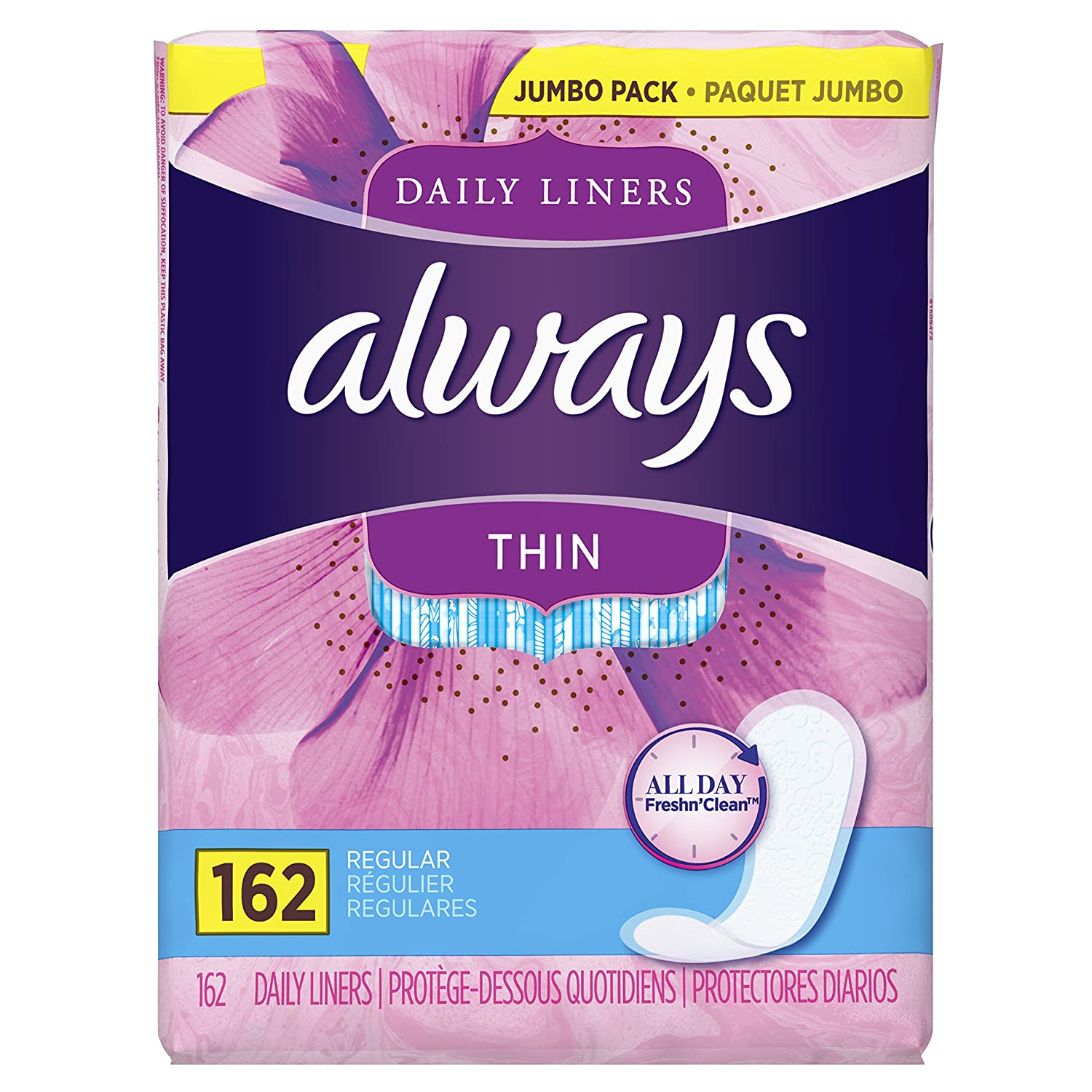 Always Thin Daily Wrapped Liners, Unscented, 162 count (Pack of 1)