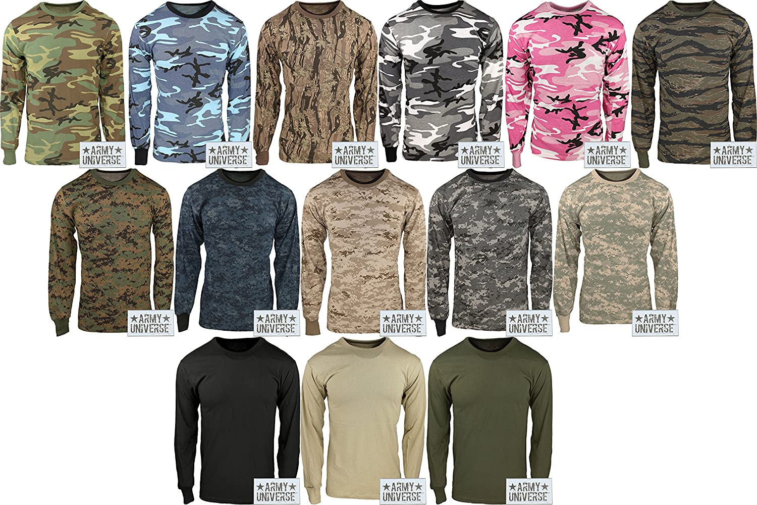 Amazon.com  Military Camouflage Long Sleeve T-Shirt Camo Army Tee With  ArmyUniverse Pin  Clothing bce70e1ce48