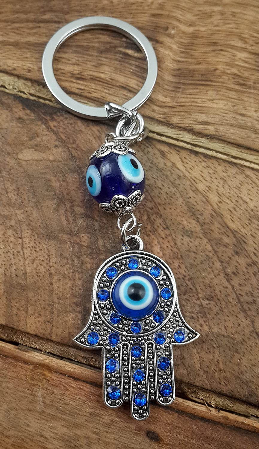 Evil Eye Silver Hamsa Keychain Hand Fatima Protection Charm Key holder Good Luck Keychain - Amulet