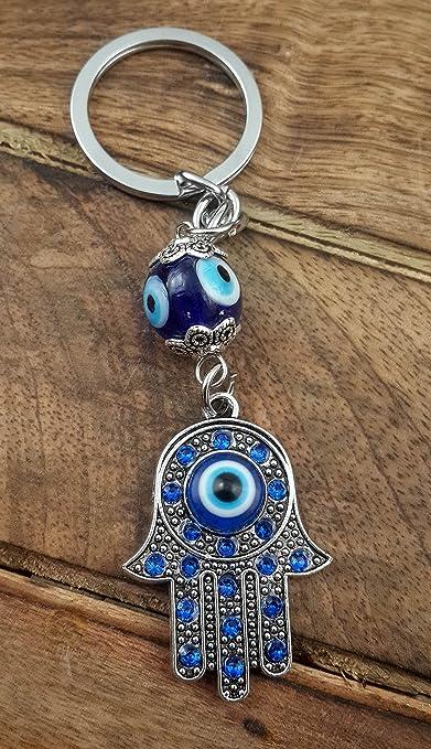 Amazon.com: Evil Eye - Llavero de plata con diseño de hámsa ...