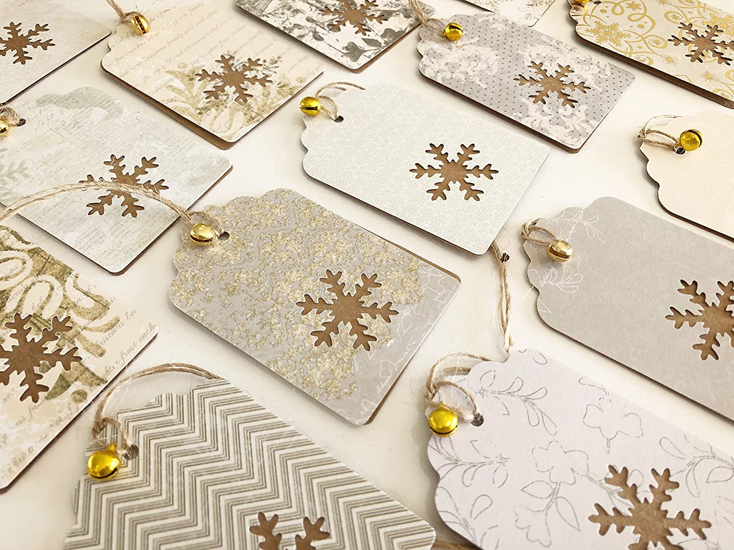 Christmas Gift Tags Handmade.Amazon Com 12x Luxury Gold Cream Kraft Handmade Christmas