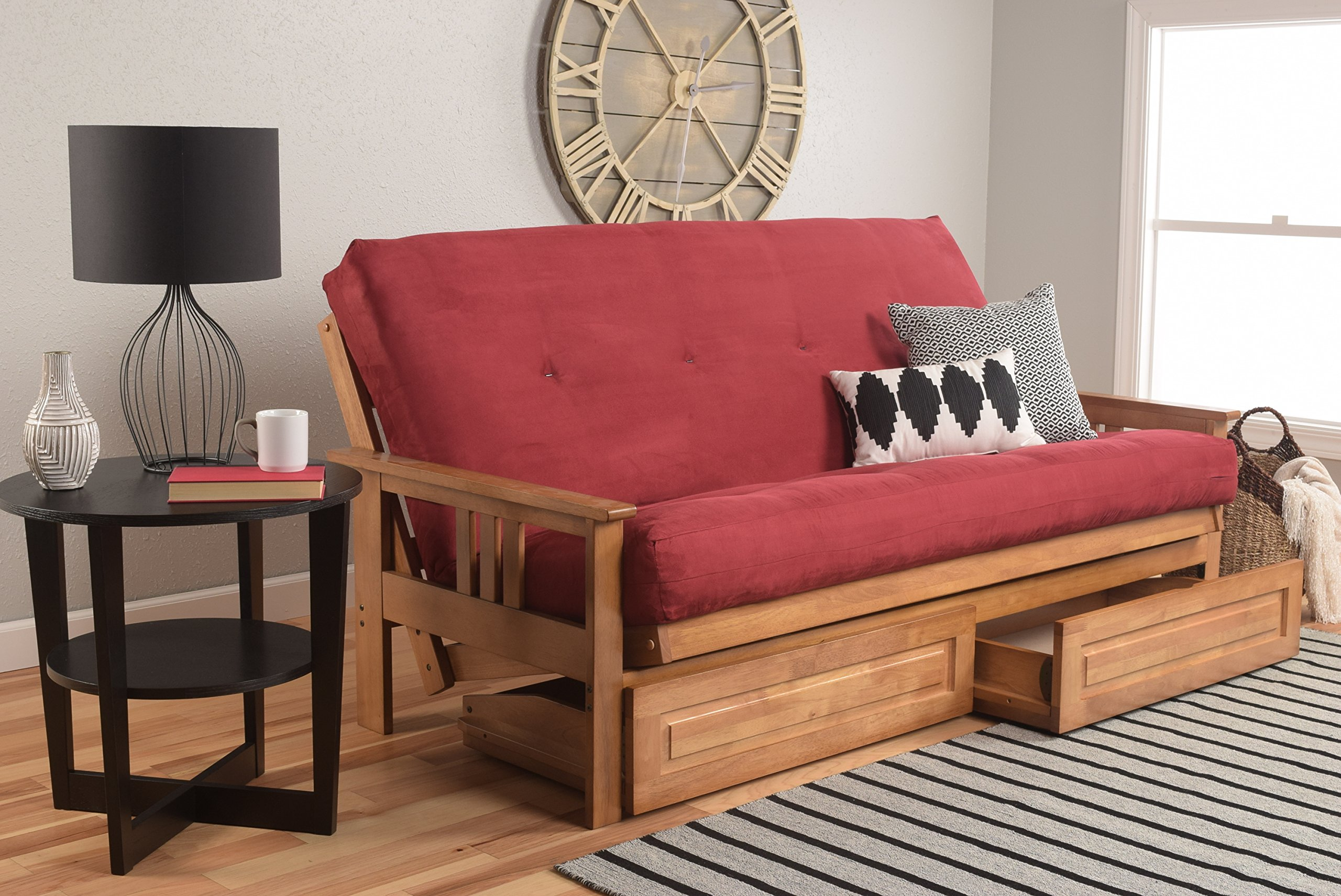 Kodiak Furniture Monterey Futon Set with Butternut Finish and Storage Drawers, Full, Suede Red by Kodiak Furniture