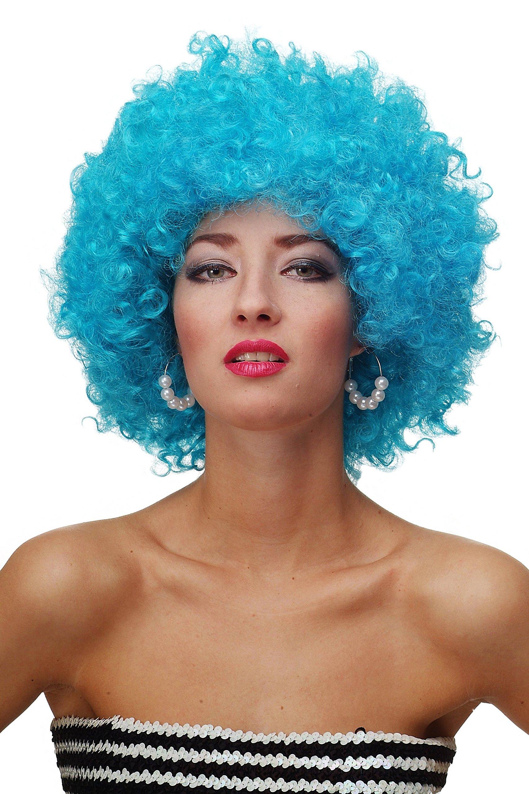 WIG ME UP ® - Peluca afro azul claro Funk Disco años 70 años 80 Foxy