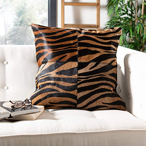 Safavieh Pillow Collection Throw Pillows, 18 by 18-Inch, Raquel Black and Brown, Set of 2
