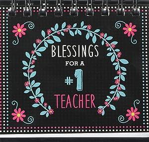 """Blessings for a #1 Teacher"" -Perpetual Calendar—Teacher Desk Calendar w/ Biblical Inspiration: Wired Coiled | 366 Pages | Free-Standing - Teacher Appreciation Gifts"