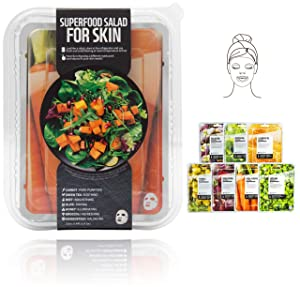 Innerest Superfood Salad Beauty Facial Sheet Mask with Natural Colostrum K-Beauty (Salad B, 7 pcs)