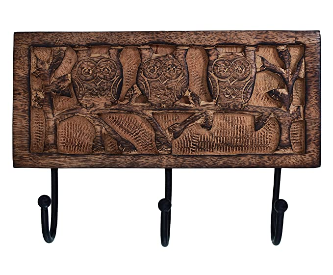 purpledip madera perchero de pared ganchos para colgar ropa, llaves de noche bosque (10795)