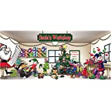 Victory Corps Outdoor Christmas Holiday Garage Door Banner Cover Mural Décoration 7'x16' - Santa's Workshop Outdoor Christmas Holiday Garage Door Banner Décor Sign 7'x16'
