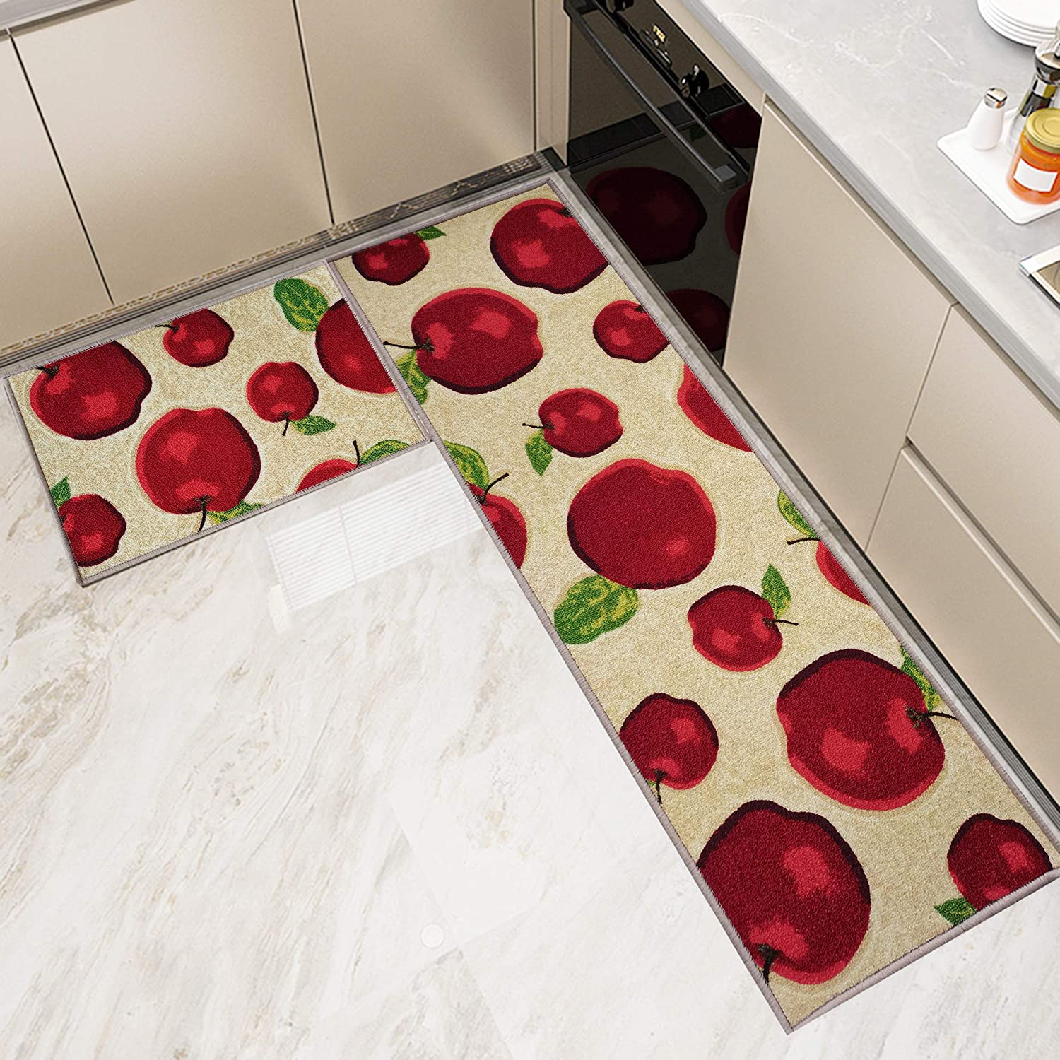 Kitchen Rugs and Mats Non Skid Washable Set 2 PCS, Water Absorb Microfiber Standing Kitchen Area Decor Mats and Rugs Rubber Backing Soft Carpet Doormat Runner for Home Floor, Apple