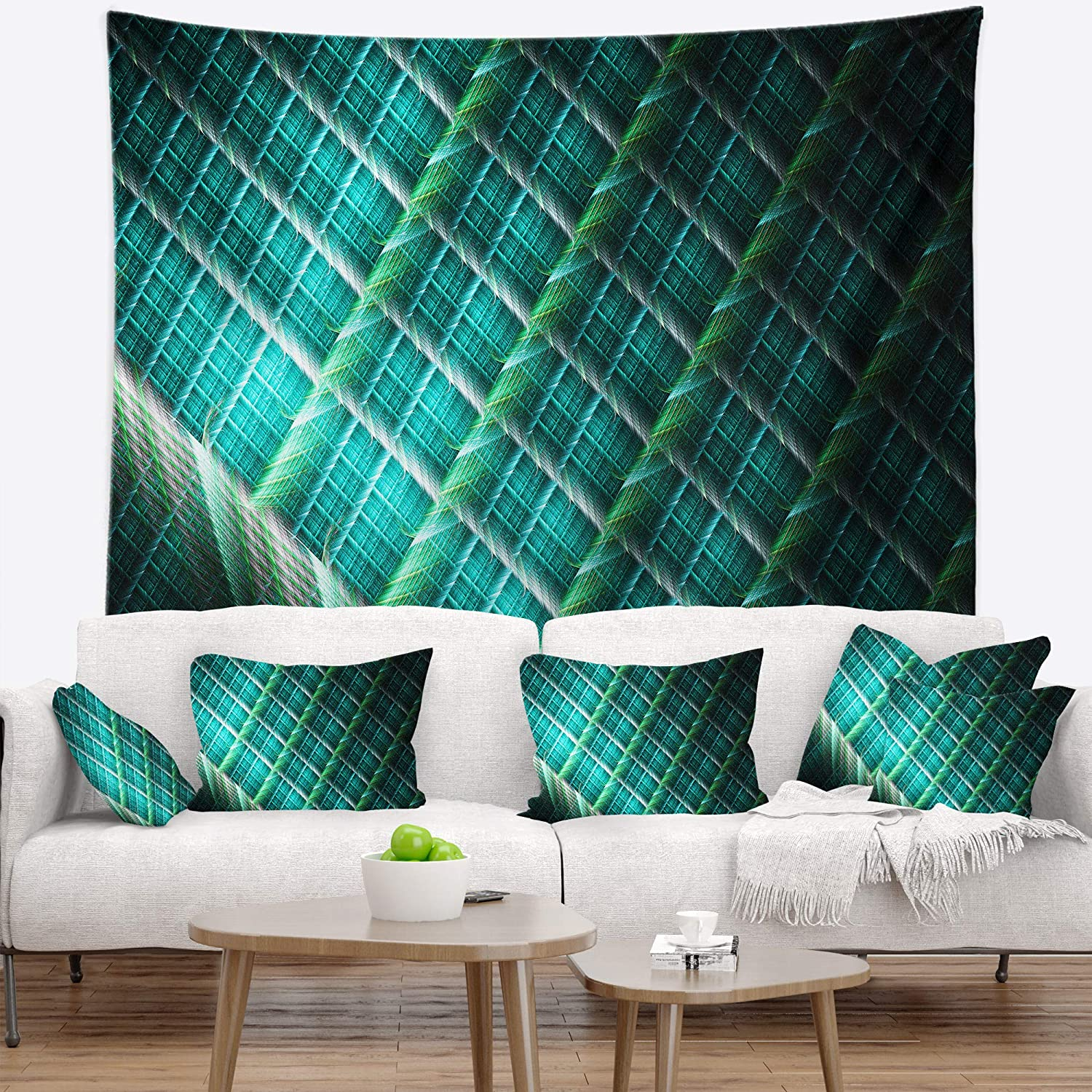 Large 60 x 50 Designart TAP15814-60-50 Green Fractal Grill Pattern Abstract Blanket D/écor Art for Home and Office Wall Tapestry Created on Lightweight Polyester Fabric