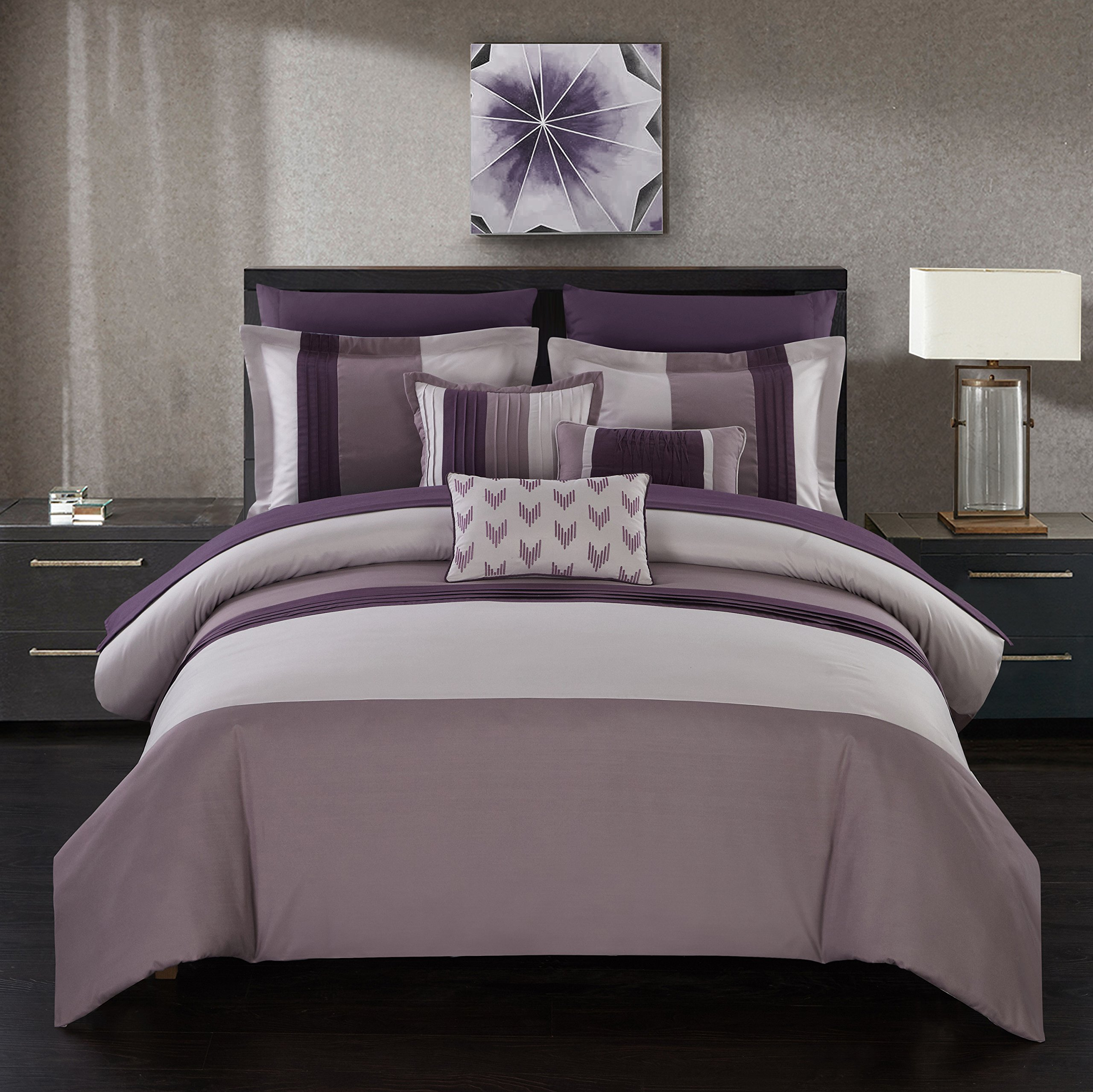 Chic Home Izar 10 Piece Comforter Set Color Block Ruffled Bed in a Bag Bedding - Decorative Pillows Shams Included, Queen Plum