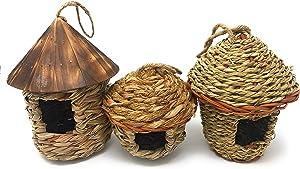 Lantern Hill Small Bird Roosting Pocket/Birdhouse, Handwoven Grasses, Set of Three
