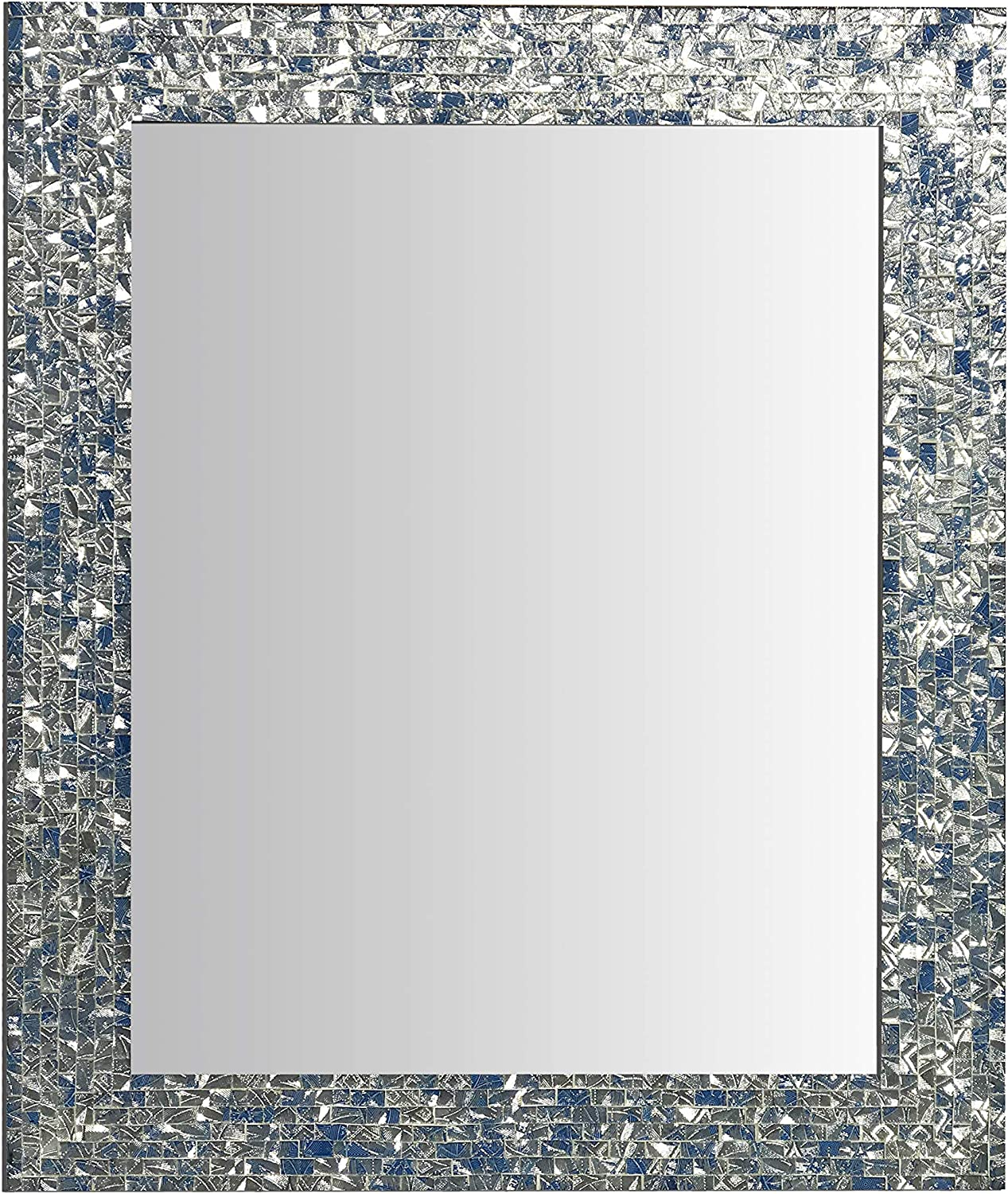 Multi-Colored Cobalt Blue & Silver, Luxe Mosaic Glass Framed Wall Mirror, Decorative Embossed Glass Mosaic Rectangular Vanity Mirror/Accent Mirror (30