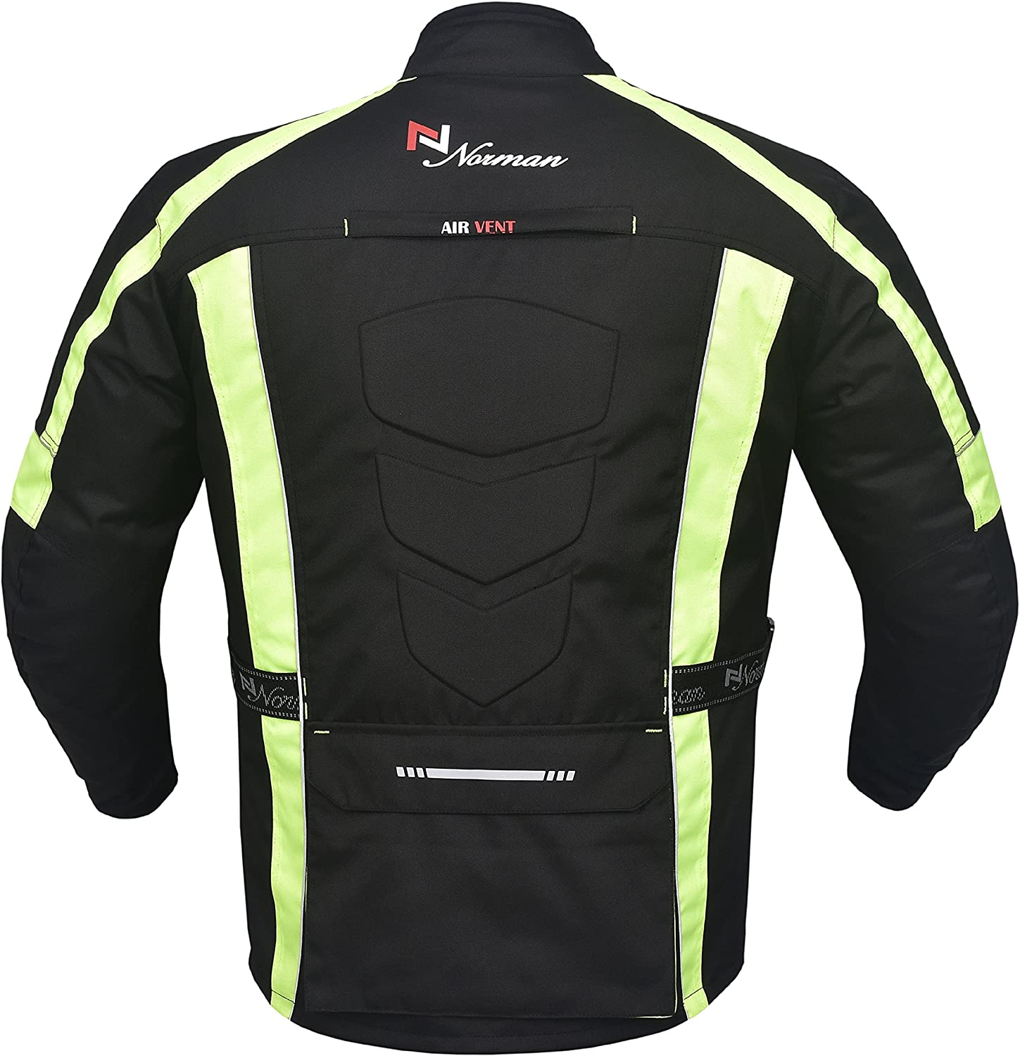 NORMAN Green//Black Mens Motorcycle Motorbike Jacket Waterproof Textile with CE Armours