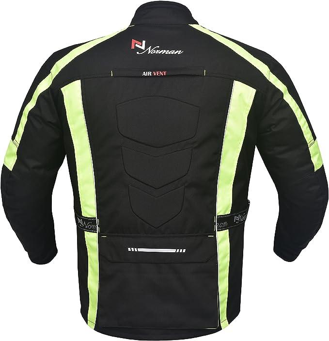 NORMAN Mens Motorcycle Motorbike Jacket Waterproof Textile CE Armoured Reflectors Black//Green Hivis