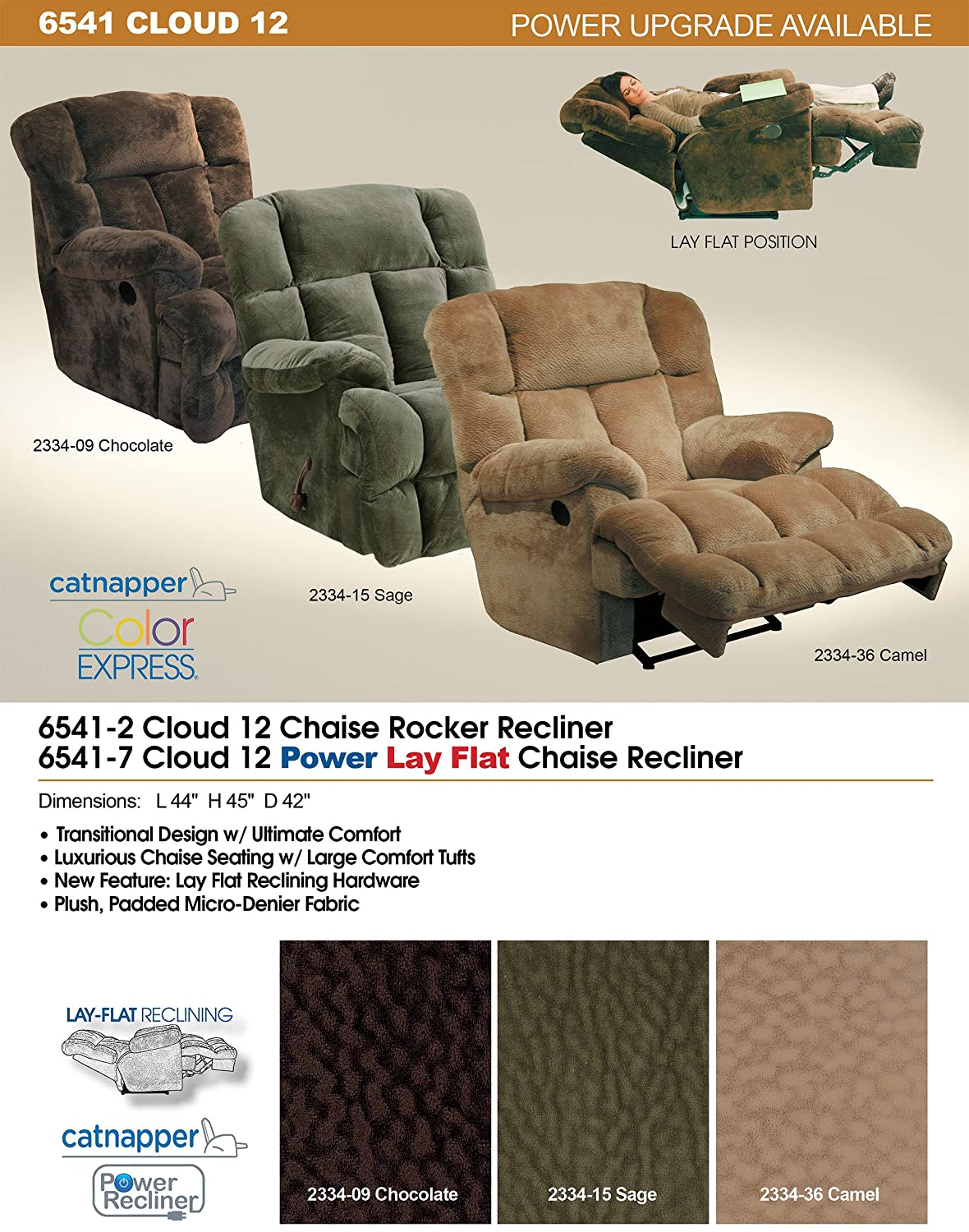 amazoncom catnapper cloud 12 power lay flat chaise recliner chair chocolate fabric kitchen u0026 dining - Catnapper Recliner