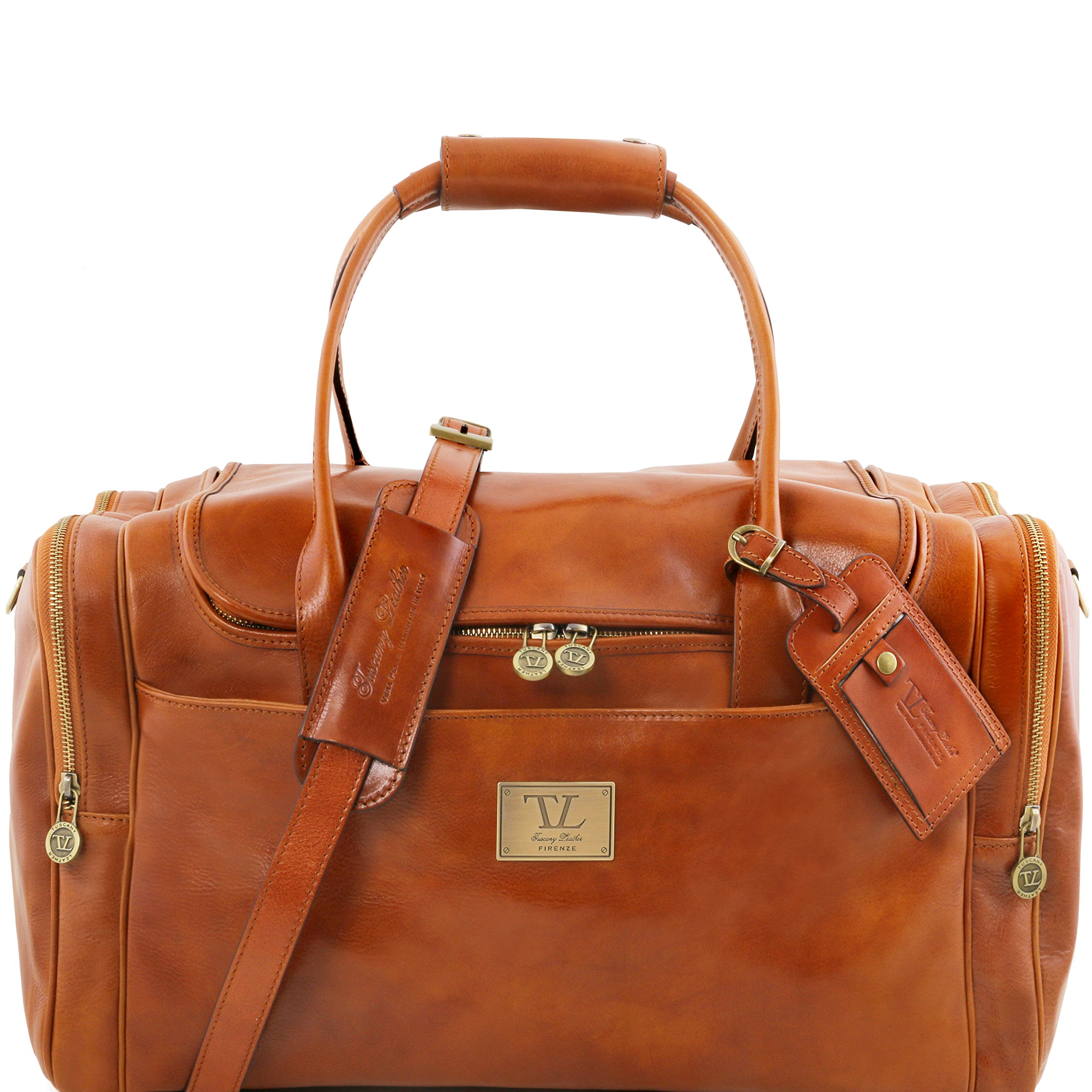 Tuscany Leather TL Voyager Travel leather bag with side pockets Honey Leather Travel bags by Tuscany Leather