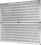 Pegboard Rack Wall Control Galvanized Steel Pegboard Pack - Two 32-Inch x 16-Inch Shiny Metallic Metal Pegboard Panels