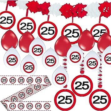 Carpeta 23 Tlg Partyset 25 Geburtstag Mit Verkehrschild Deko
