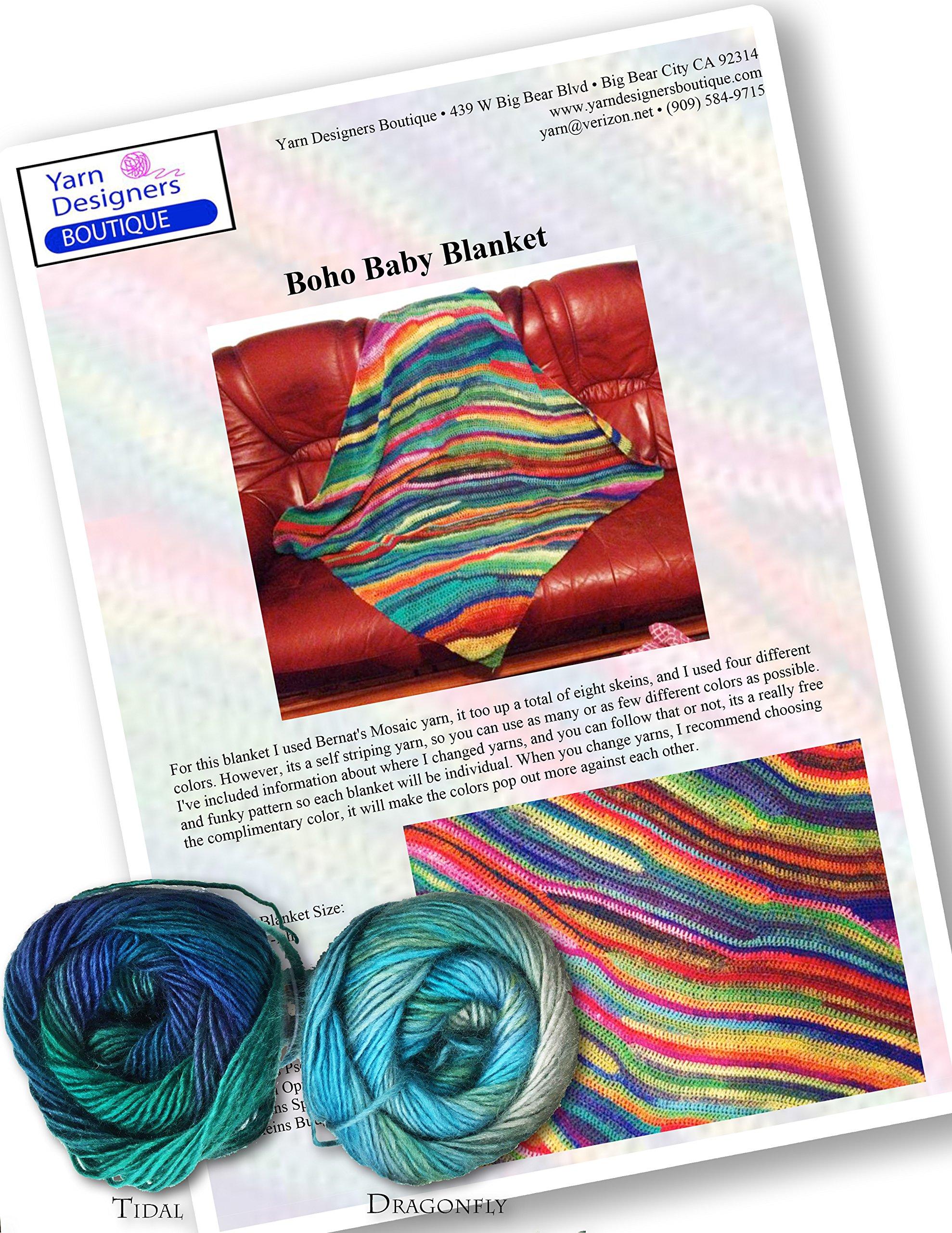 Crochet Kit: Easy Baby Blanket, Self Striping Boho Chic (Dragonfly and Tidal)
