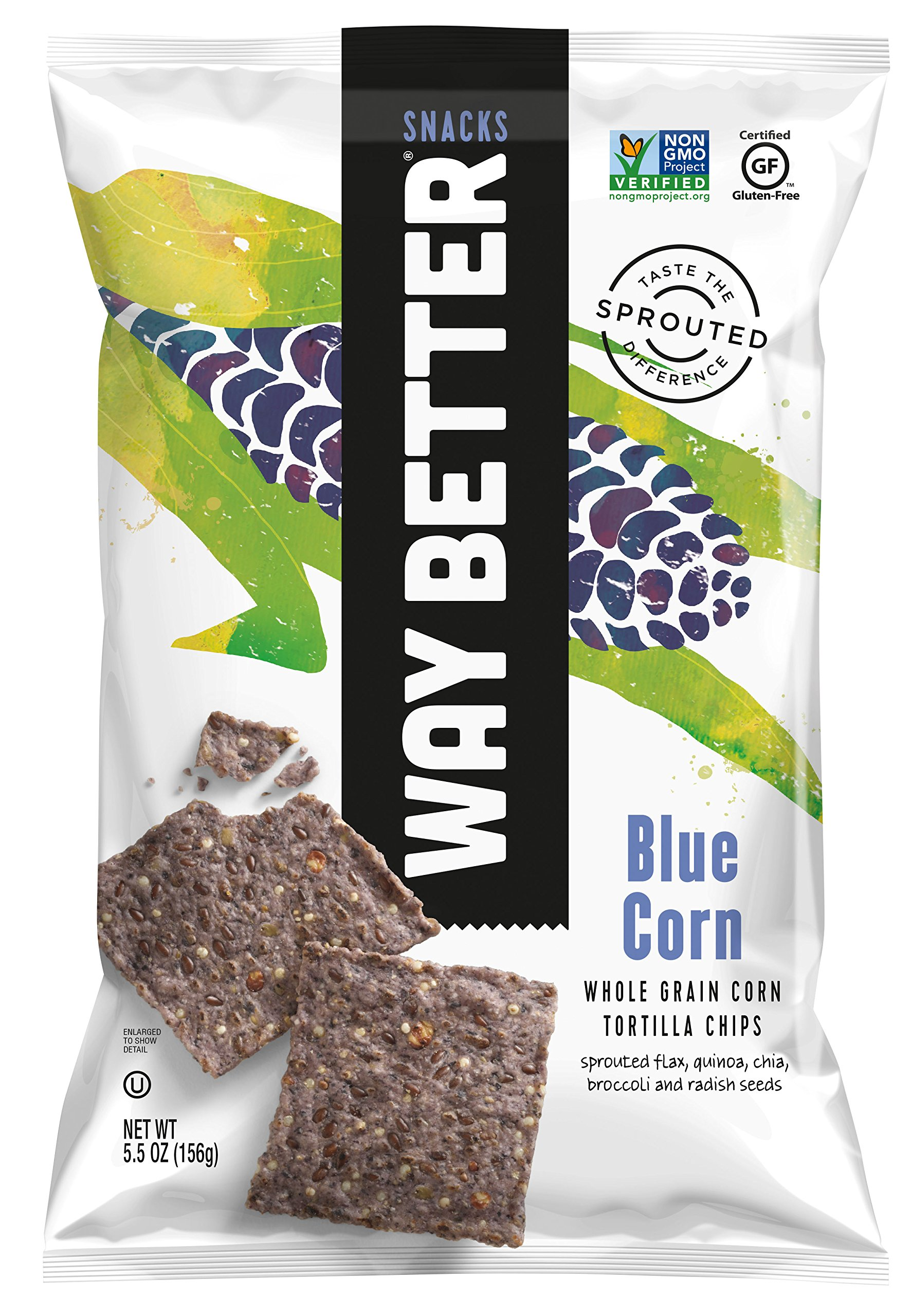 Way Better Snacks Sprouted Gluten Free Tortilla Chips, Unbeatable Blues, 12 Count by Way Better Snacks