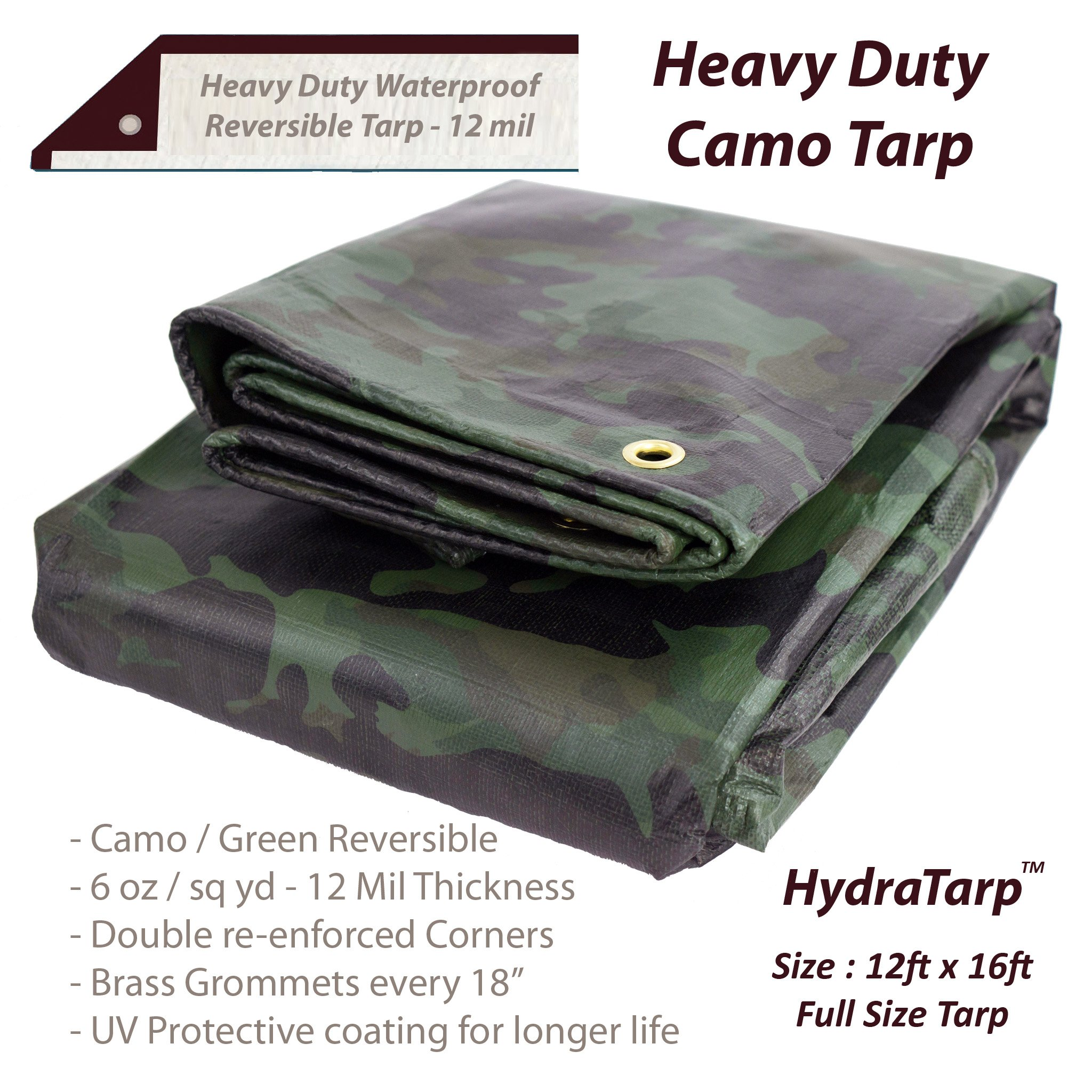 Heavy Duty Waterproof Camo Tarp - Reversible Camouflage/Green Vinyl Tarp -12x16 with UV Protection for Outdoor Camping RV Truck and Trailers by Watershed Innovations